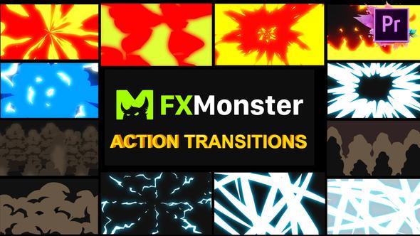 Cartoon Action Transitions | Premiere Pro MOGRT