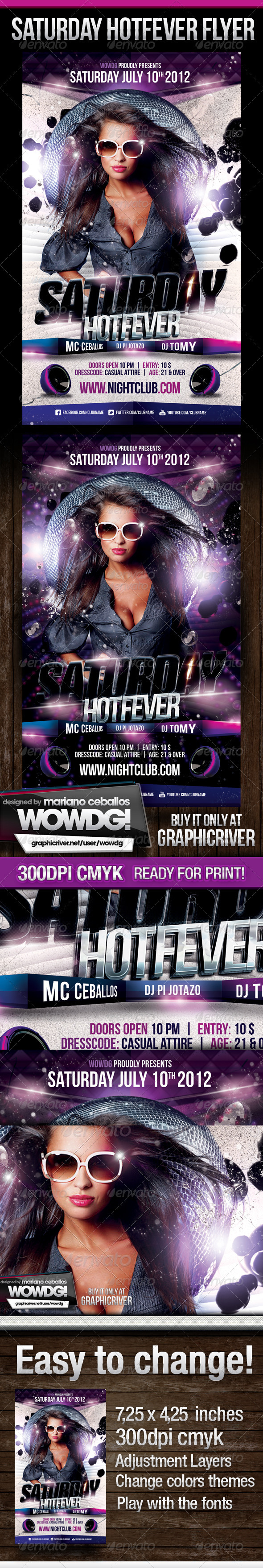 Saturday HotFever Nights - Flyers Print Templates