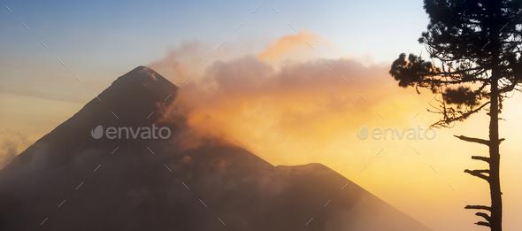 Fuego Volcano Guatemala Sunset - Stock Photo - Images