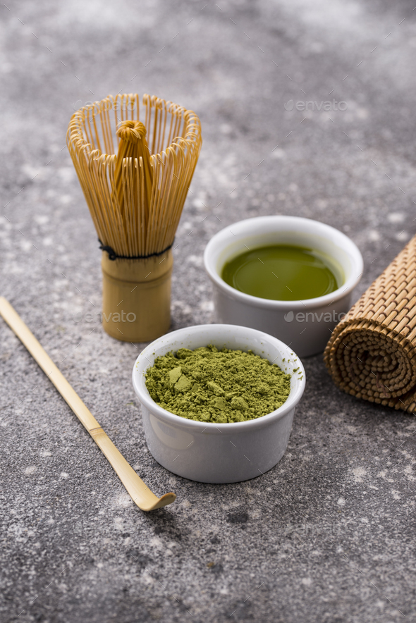 Matcha tea and bamboo whisk - Stock Photo - Images