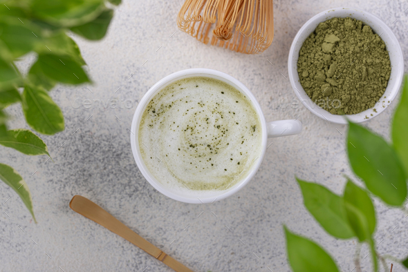 Green healthy matcha latte drink - Stock Photo - Images