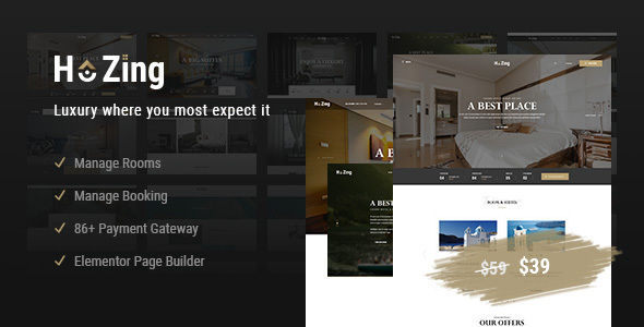 Download Hozing Hotel Booking WordPress Theme Free Nulled
