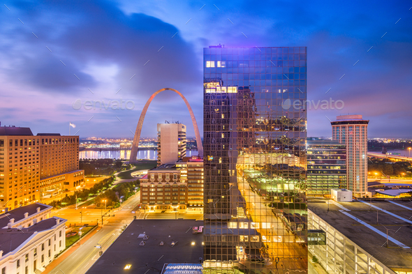 St. Louis, Missouri, USA Cityscape at Dusk - Stock Photo - Images