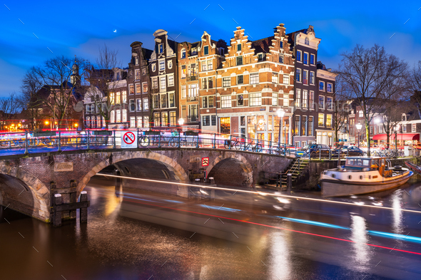 Amsterdam, Netherlands Bridges and Canals - Stock Photo - Images
