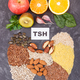 Inscription TSH and thyroid shape made of healthy ingredients. Source natural vitamins - PhotoDune Item for Sale