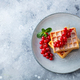 Belgian waffles with fresh red currant berries. Grey background. Copy space. Top view. - PhotoDune Item for Sale