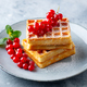 Belgian Waffles with Fresh Red Currant Berries. Grey Background. Close up. - PhotoDune Item for Sale
