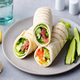 Wrap Sandwich, Roll with Fish Salmon and Vegetables. Grey Background. - PhotoDune Item for Sale