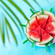Watermelon Slices on a White Plate. Blue Background. Top View. Copy space. - PhotoDune Item for Sale