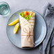 Wrap Sandwich, Roll with Fish Salmon and Vegetables. Grey Background. Top View. - PhotoDune Item for Sale