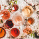 Flat-lay of rose wine in different colors in glasses - PhotoDune Item for Sale