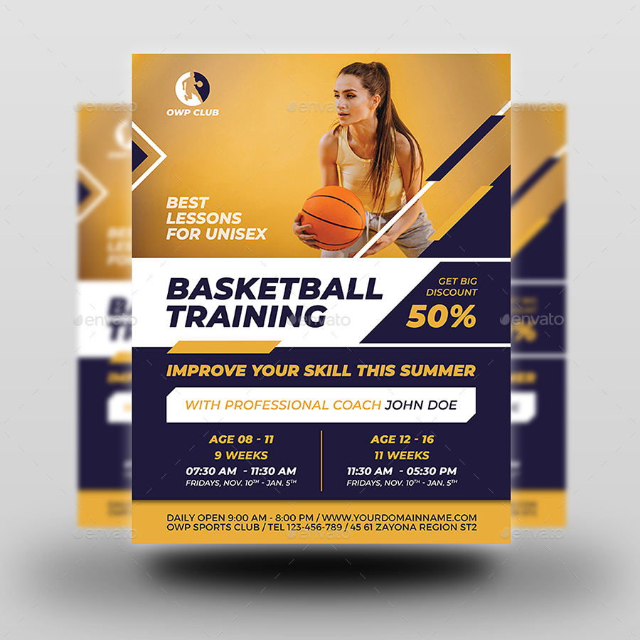 Basketball Training Flyer Template By OWPictures