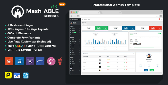 Mash Able Bootstrap 4 Admin Template & UI kit by codedthemes