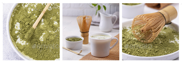 Matcha latte and tools for prepare green tea drink - Stock Photo - Images