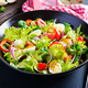 Fresh salad with vegetables tomatoes, red onions, lettuce and quail eggs. - PhotoDune Item for Sale