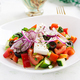 Trendy salad. Greek salad  with fresh vegetables, feta cheese and black olives. - PhotoDune Item for Sale