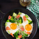 Ketogenic/paleo diet. Fried eggs, salmon, broccoli and microgreen - PhotoDune Item for Sale