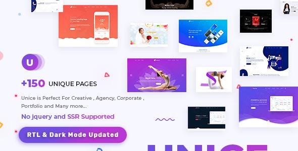 Unice - Creative Portfolio , Saas , App Landing & Agency Multipurpose Template by PixelStrap