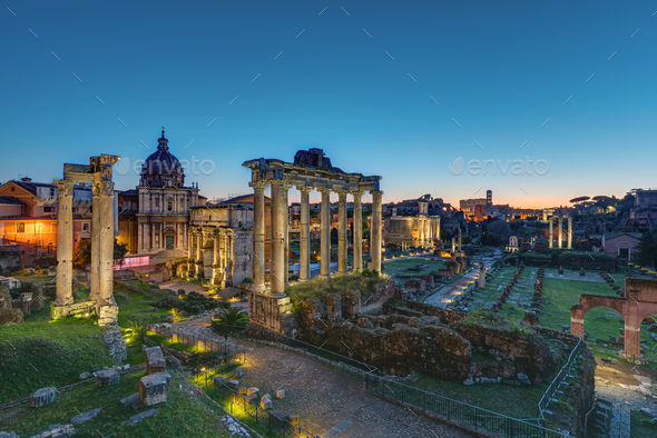 The famous ruins of the Roman Forum - Stock Photo - Images
