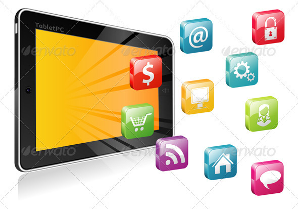 Tablet PC with a blank place for icon - Communications Technology