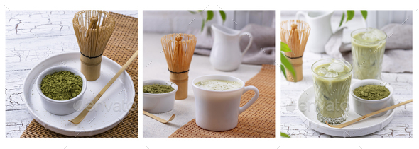 Matcha powder, latte with milk and cold drink - Stock Photo - Images