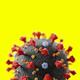 Coronavirus cell on yellow background. Virus causing pandemic - PhotoDune Item for Sale