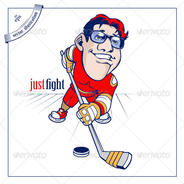 Cartoon Hockey Player - People Characters