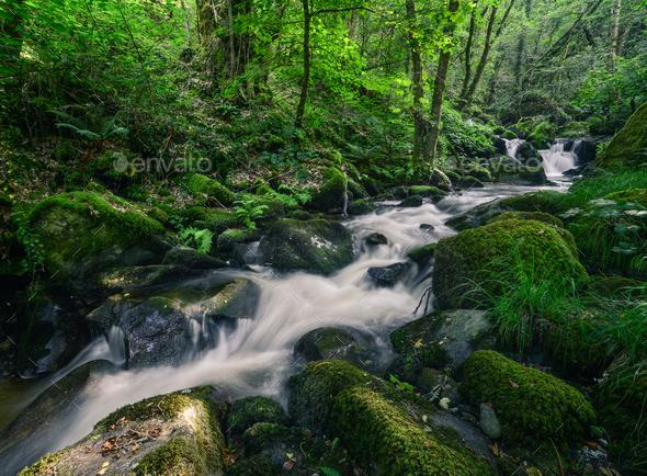 Rushing Water stumble across Nossy Stones - Stock Photo - Images