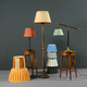 Collection of colorful pleated vintage lampshades - PhotoDune Item for Sale