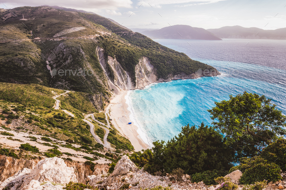 Kefalonia, Ionian islands, Greece. Famous Myrtos beach with rolling waves in spring season - Stock Photo - Images