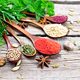 Spices in spoons on wooden board - PhotoDune Item for Sale