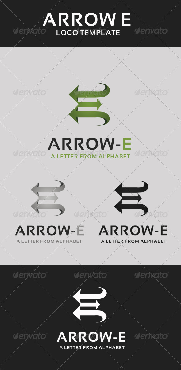 Arrow Letter E Logo Template - Letters Logo Templates