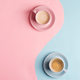 Creative pastel blue pink background as a symbol of infinity with two ceramic cups of freshly brewed - PhotoDune Item for Sale