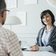 Middle age elegant female boss during job interview with senior manager - PhotoDune Item for Sale