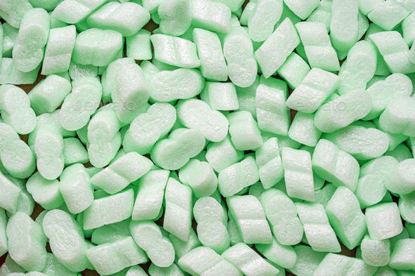 Packing beans polystyrene foam pellets - Stock Photo - Images