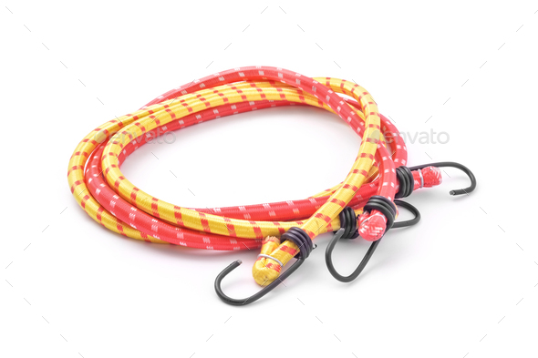 Elastic bungee hook rope cable - Stock Photo - Images