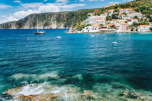 Assos village Mediterranean Sea, Greece. Summer vacation on Greek Island - Stock Photo - Images