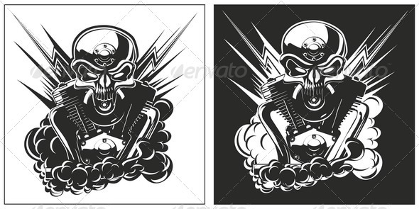 Bw Skull with Engine set - Tattoos Vectors