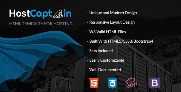 HostCaptain – Hosting and Business HTML Template