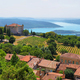 chateau and church in Aiguines and St Croix Lake at background, France - PhotoDune Item for Sale