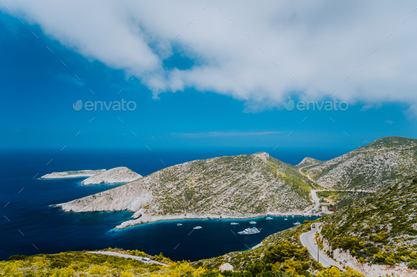 Porto Vromi on Greek Zakynthos island. Blue sea bay surrounded by barren cliffs. Greece - Stock Photo - Images