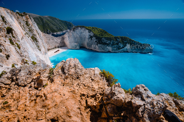 Navagio beach Zakynthos. Shipwreck bay with turquoise water and white sand beach. Famous marvel - Stock Photo - Images