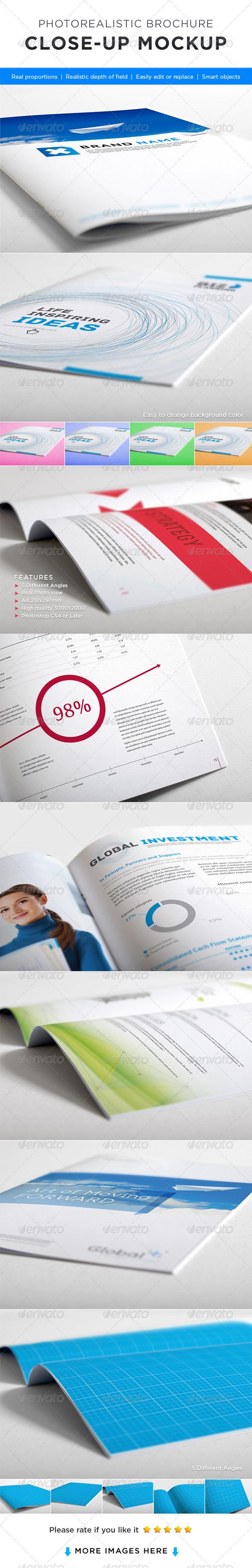 Photorealistic Brochure Close-up Mock-up - Brochures Print