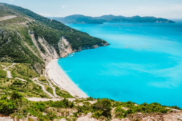 Famous Myrtos Beach. Must see visiting tourism location on Kefalonia island in summer. Greece - Stock Photo - Images