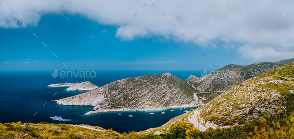 Panoramic summer landscape of Porto Vromi. Zakynthos Island coastline, Greece. Beautiful lagoon - Stock Photo - Images