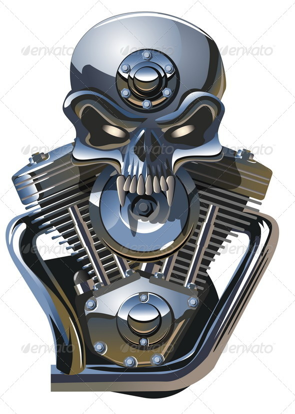 Metall Skull with Engine - Miscellaneous Conceptual