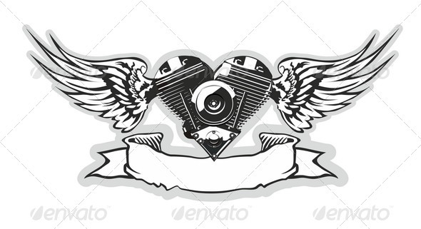 Winged Motorbike Symbol - Tattoos Vectors