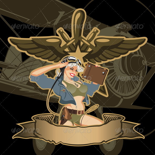 Retro Military Pin-up - People Characters