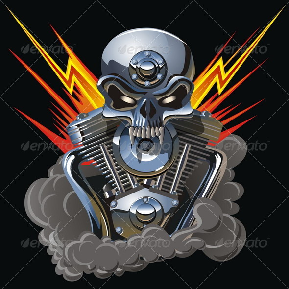 Vector Metall Skull with Engine - Decorative Symbols Decorative