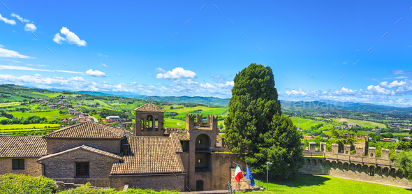 Gradara medieval village view from castle, Pesaro and Urbino, Marche region, Italy - Stock Photo - Images